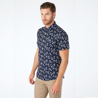 7 Diamonds At The Top 4-Way Stretch Short Sleeve Shirt - Navy