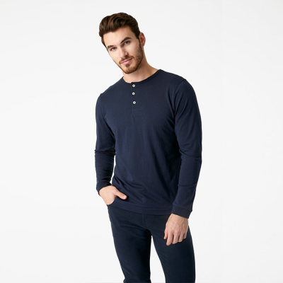 7 Diamonds Iron Sky Supima Henley - Sky Captain