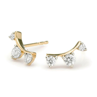 Adina Reyter 3-Diamond Amigos Curve Post Earrings