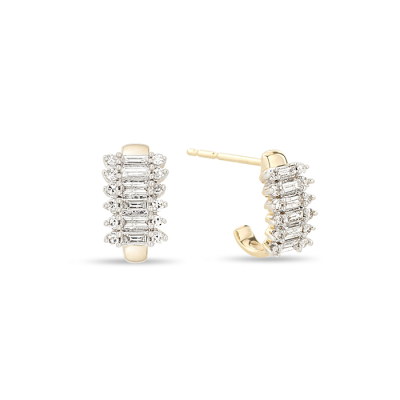 Adina Reyter Stack Baguette J Hoop Earrings