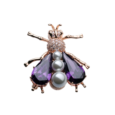 JCB Jewelry Brooch or Necklace - Amethyst and Pearl Fly