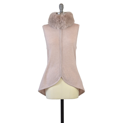 Aspen True Cashmere Vest With Fox Fur Collar