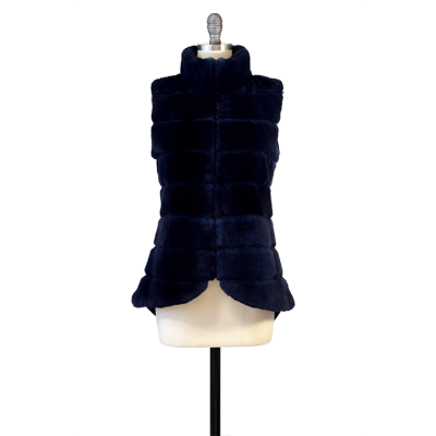 REX RABBIT VEST WITH SWOOP BACK / MIDNIGHT BLUE