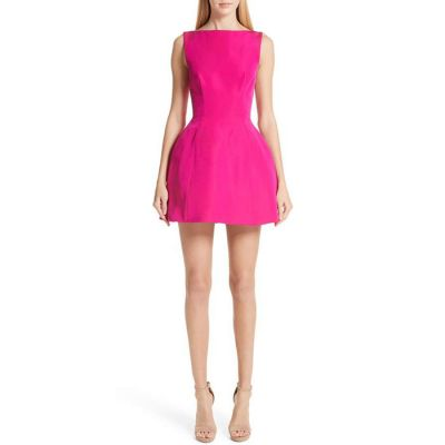 Brandon Maxwell Sleeveless Fit-and-Flare Silk Faille Bubble Dress - Fuchsia