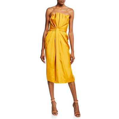 Brandon Maxwell Petal Front Cocktail Dress