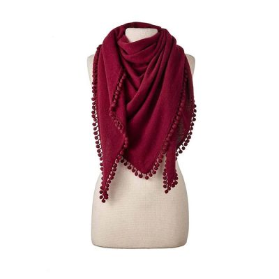 Captiva Cashmere Pom-Pom Triangle Wrap - Claret Red