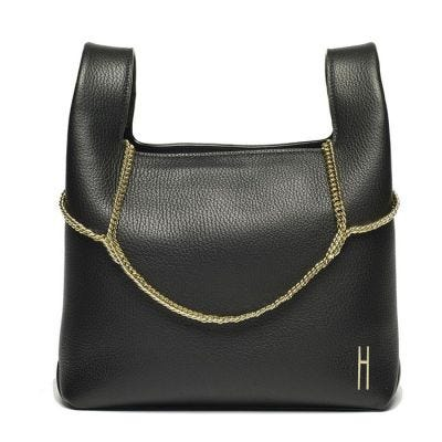 Hayward Leather New Chain Bag - Black Pebble