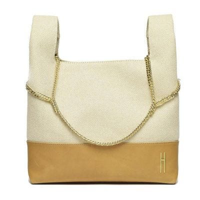 Hayward Linen and Leather New Chain Bag - Natural and Tan