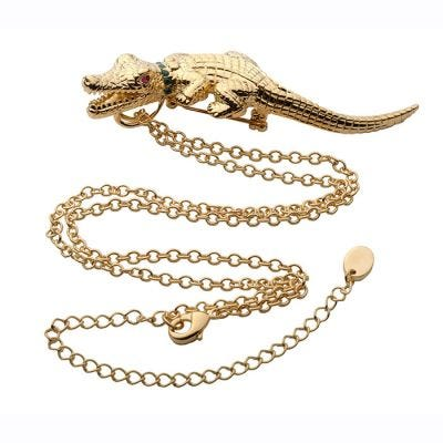 JCB Jewelry Brooch and Necklace - Crocodile