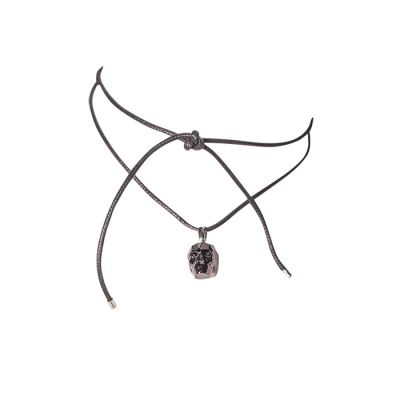 JCB Wrap Necklace - Black Skull with Swarovski Crystals