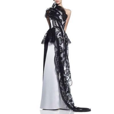 "Maticevski ""Belladonna"" White Satin & Black Lace Gown"