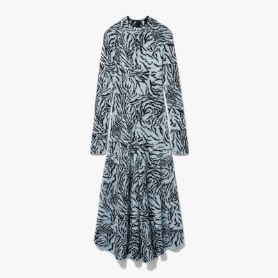 Proenza Schouler Zebra Jacquard Long Sleeve Dress - Pale Blue & Black