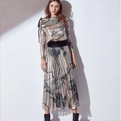 Profile NYC Metallic Print Blouse With Velvet Bow