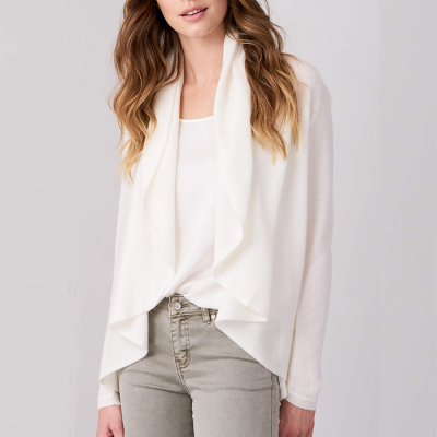 Repeat Cashmere Open Cardigan with Shawl Neck - Cream