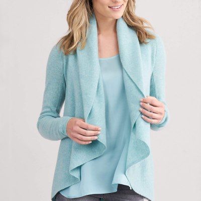 Repeat Cashmere Open Cardigan with Shawn Neck - Jade