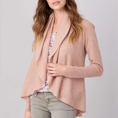 Repeat Cashmere Open Cardigan with Shawl Neck - Skin