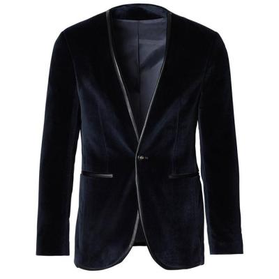 Ron Tomson Collarless Velvet Tuxedo Blazer - Navy