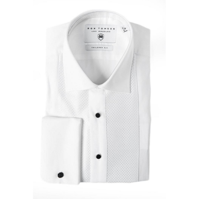 Ron Tomson Lurex Paneled Spread Collar Shirt - White