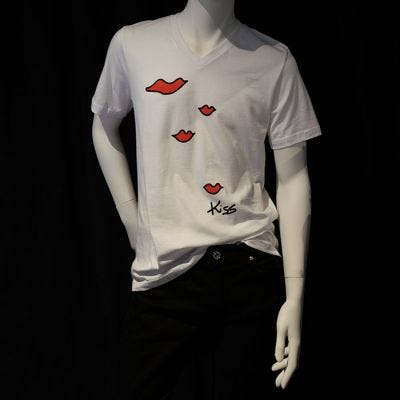 JCB Collection The Kiss Screen Print V-Neck T-Shirt